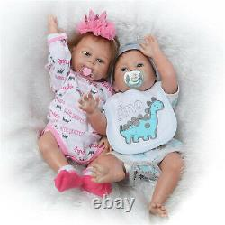 Twins Anatomically Correct Boy and Girl Reborn Baby Dolls Full Body Silicone 20